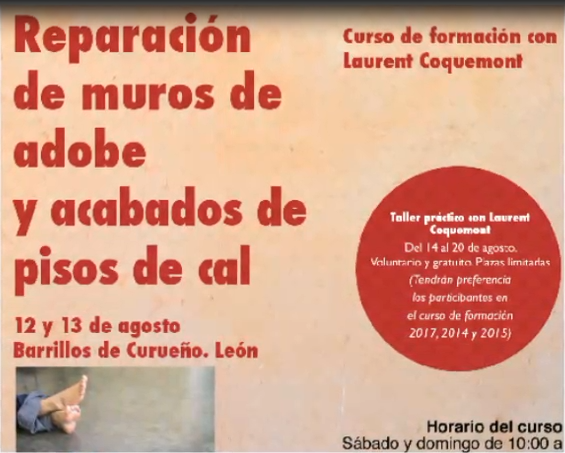 CURSO MUROS DE TIERRA Y MORTEROS DE CAL. LAURENT COQUEMONT EN BARRILLOS DE CURUEÑO